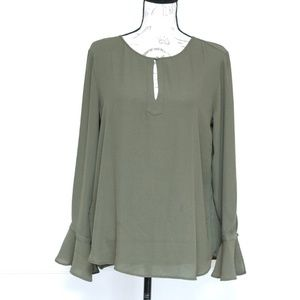 LOFT green bell sleeves blouse, size M